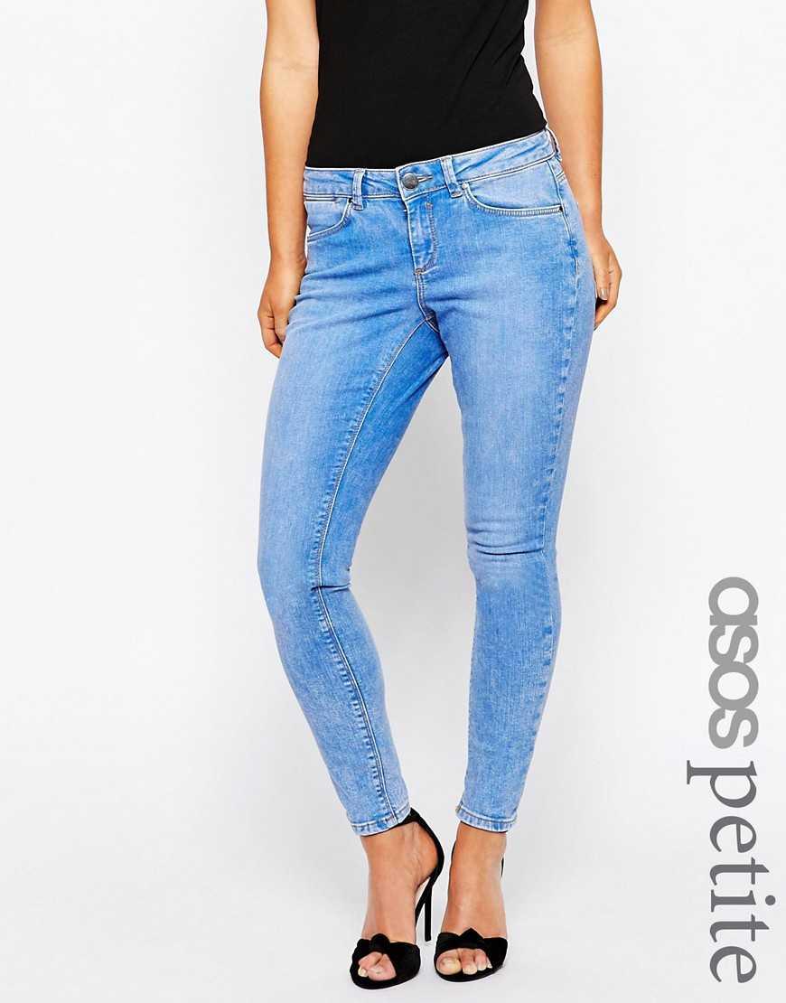 Cветло-голубые джинсы скинни с заниженной талией ASOS PETITE Whitby