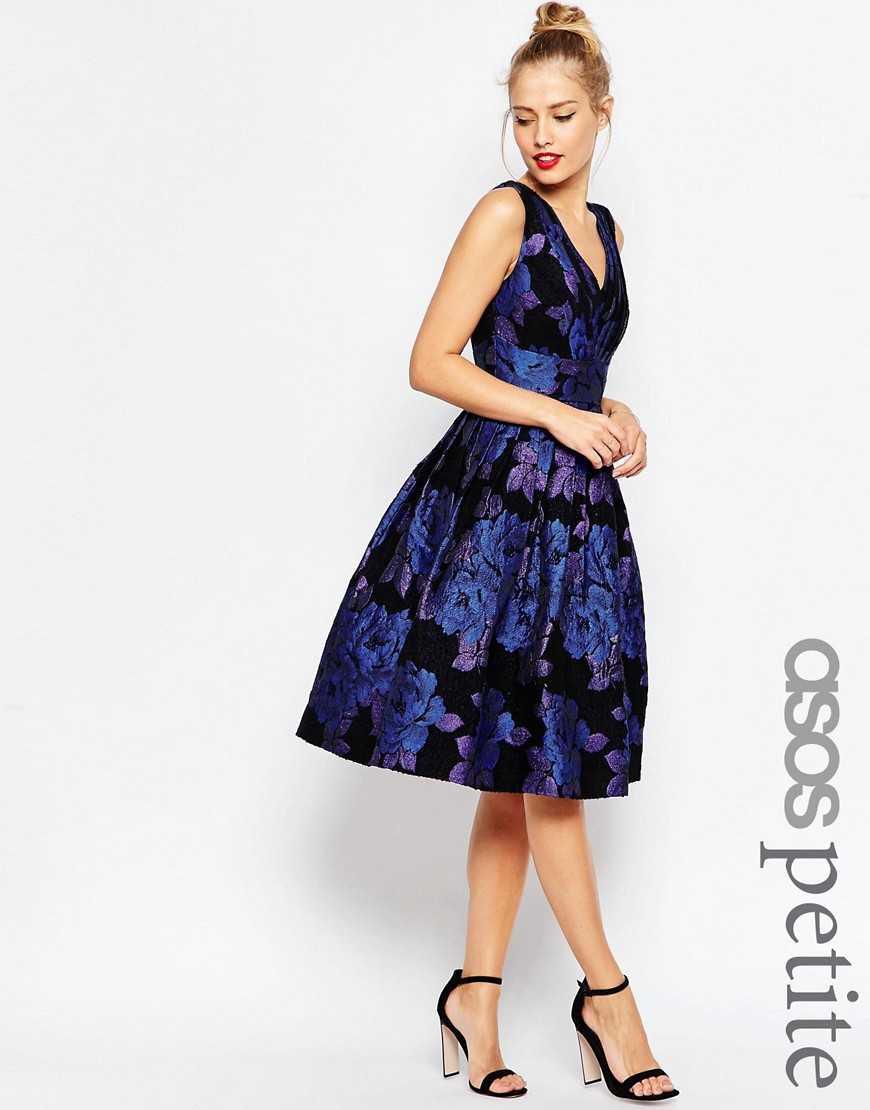 Платье миди для выпускного с синими розами ASOS PETITE— Синий
