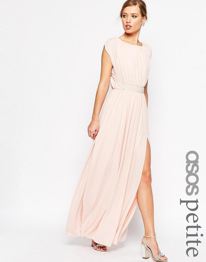Платье макси с отделкой на талии ASOS PETITE— Телесный