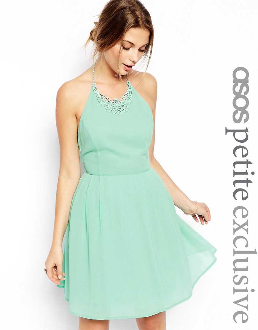 Платье для выпускного с ожерельем ASOS PETITE— Мятный