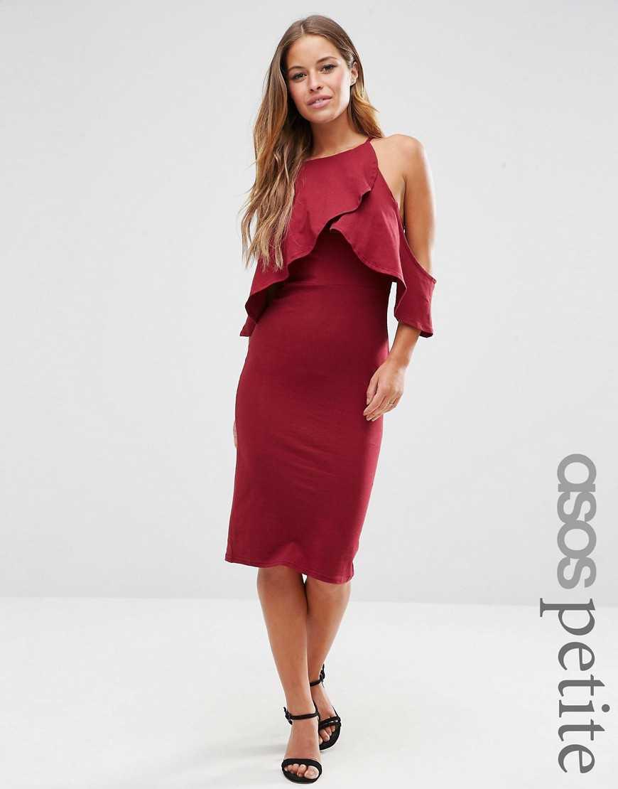 Платье миди с открытыми плечами на низкий рост