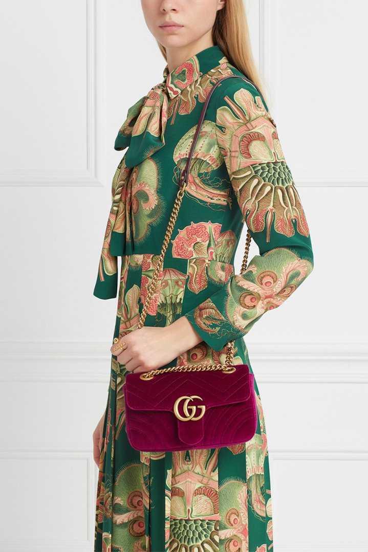 Бархатная сумка GG Marmont