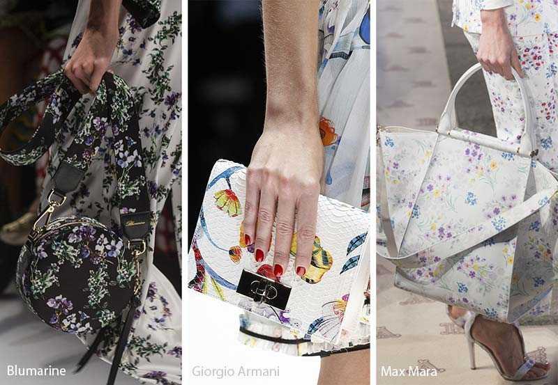 e22ceb944bbc Дизайнеры Blumarine соединили два тренда  круглые с флористическим  рисунком, а дом Max Mara предлагают носить сумку и наряд, выполненными в  одном принте.