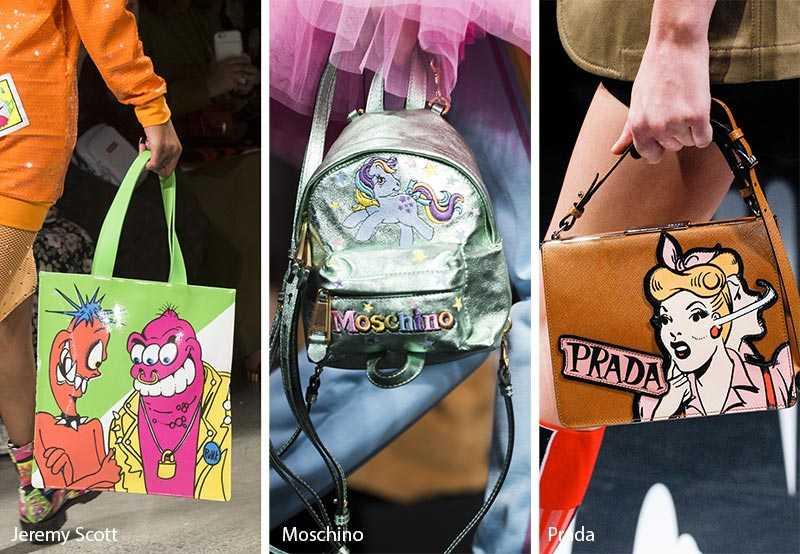 9437d5ec6d23 К моде стоит относиться с юмором, напоминают нам дизайнеры. Так Prada и  Moschino добавили еще и свои логотипы на модные кожаные сумки 2018.