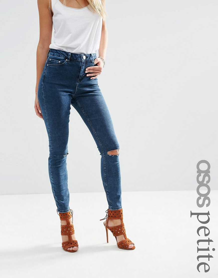 Темные джинсы скинни с рваными коленками ASOS PETITE RIDLEY