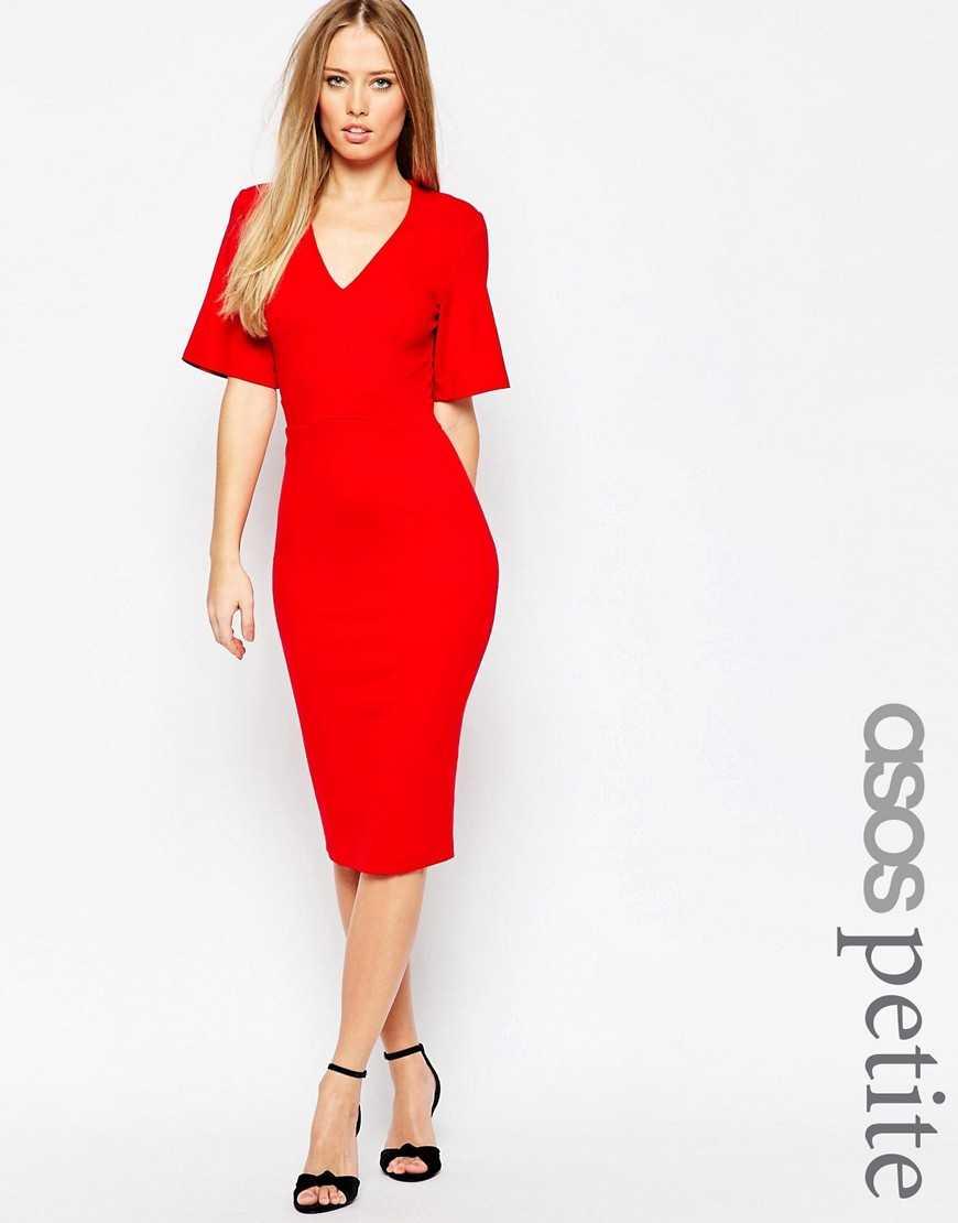 Платье с глубоким вырезом и рукавами-кимоно ASOS PETITE— Красный