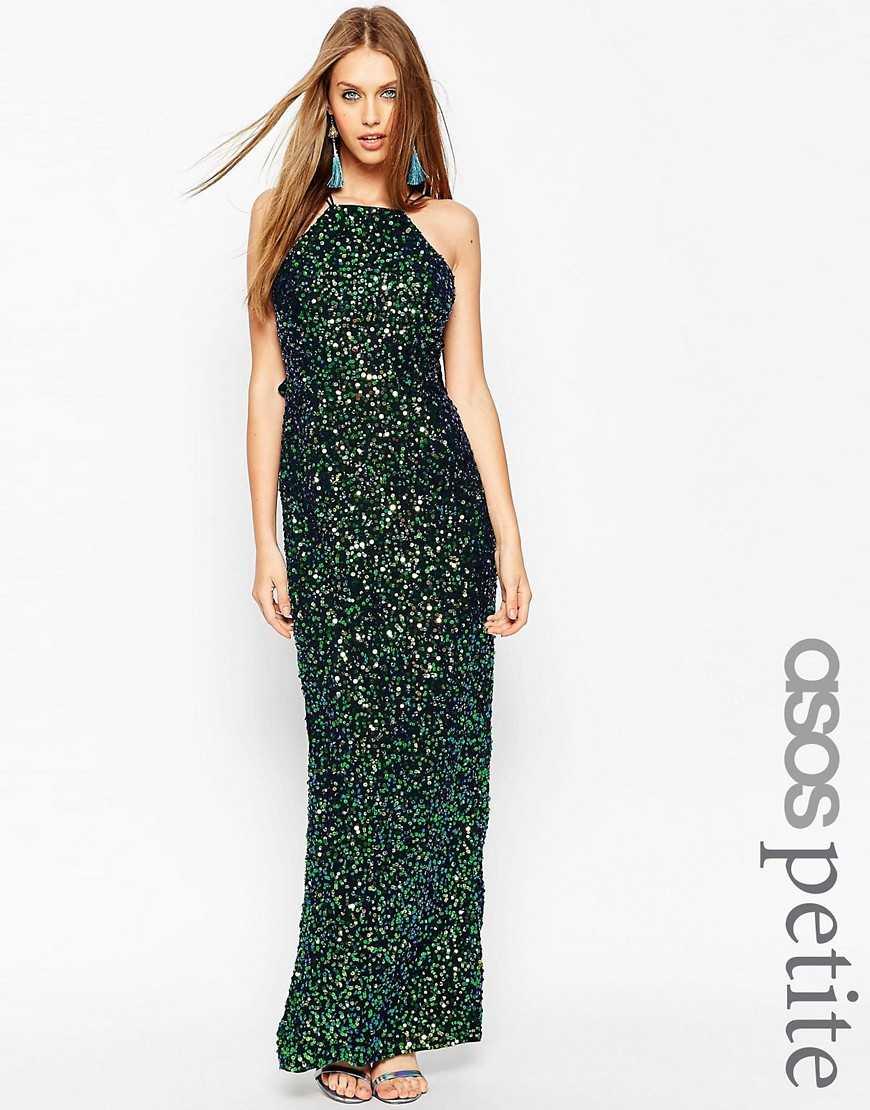Платье макси с драпировкой сзади и отделкой ASOS PETITE— Темно-синий