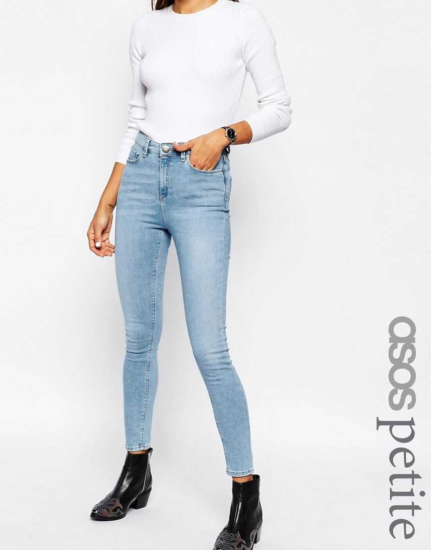 Светлые стираные джинсы скинни ASOS PETITE Ridley